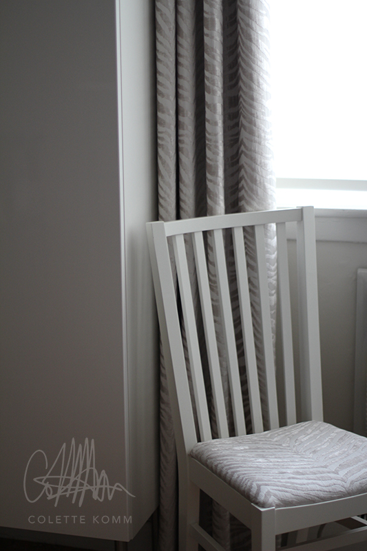 zebra curtains and chair